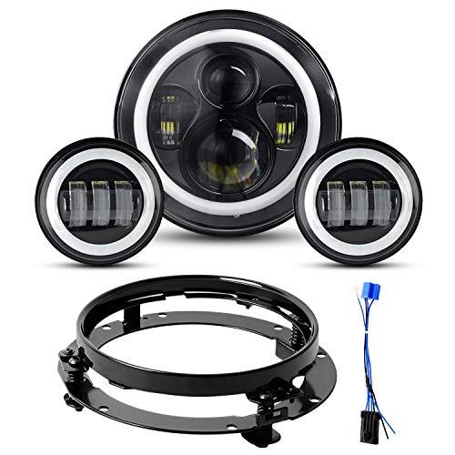 7 zoll Scheinwerfer,YEEGO Runde Scheinwerfer+2x4.5 Zoll Passing Lampen Nebelscheinwerfer für Motorrad mit Haltering und Kabeladapter (Black Set)