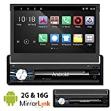 Ezonetronics Free Update to Android Quad Core Retractable Car Radio Stereo 7 inch Capacitive Touch Screen High Definition 1024x600 GPS Navigation USB SD Player 2G DDR3 + 16G NAND Memory Flash