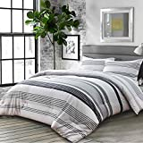 Nanko Comforter Set Queen Size, Boho Grey Gray Striped Print Pattern 88 x 90 inch 3pc Reversible Comforter Microfiber Duvet Sets Bedding Bohemian Modern Farmhouse Style for Men and Women