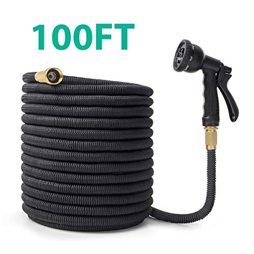 OWSOO Garden Hose, 100 FT Expandable Water Hose, 8 Function Spray Nozzle, Extra Strength Fabric, 3/4' Solid Brass Fittings No-Kink Durable Flexible Hose, Rot, Crack, Leak Resistant