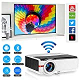 Wireless WiFi Bluetooth Video Projector 5000 Lumens LED LCD Multimedia Projector Support HD 1080p Airplay Smartphone iPad Laptop Wireless Screen Cast, HDMI VGA AV USB TV Port for PC Fire TV Stick PS4