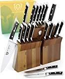 DALSTRONG Knife Block Set - 18-Piece - Gladiator Series Colossal Knife Set - Forged German ThyssenKrupp HC Steel - Acacia Wood Stand - Black Handles - NSF Certified
