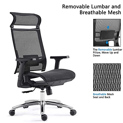 Product Image 3: BILKOH Ergonomic Office Chair, High Back Desk Chair with Mesh Seat - Adjustable Lumbar Support Breathable Mesh Chair Wide Headrest& Reclining Task Chair Adjustable 3D Armrest & Height <a href=