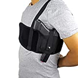 Depring Ultra Comfort Shoulder Holster for Deep Concealment Ambidextrous Ventilated Neoprene Shoulder Rig 47 inch (Black)