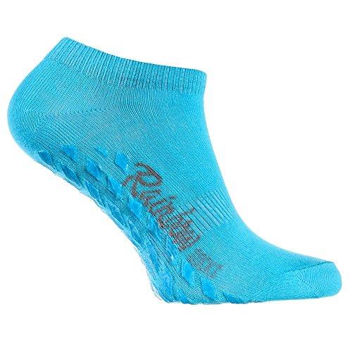 Rainbow Socks - Donna Uomo - Calzini Corti Antiscivoli di Cotone - 1 paio Turchese - Taglia UE 38-40