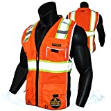 KwikSafety (Charlotte, NC) CLASSIC (X-Large Orange)| 10 Pockets Class 2 ANSI High Visibility Reflective Safety Vest Heavy Duty Mesh with Zipper and HiVis for OSHA Construction Work HiViz Men Women