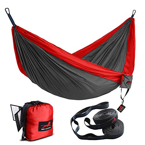 HONEST OUTFITTERS Double Camping Hammock with Hammock Tree Straps,Portable Parachute Nylon Hammock for Backpacking Travel 118' W x 78' L Red/Charcoal