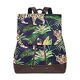 Yuanmeiju Mochila de Cuero Rucksack Tree Jungle Keaf Tiger Daypack Bags for Girls Boys