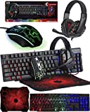 Gaming Keyboard and Mouse and Mouse pad and Gaming Headset, Wired LED RGB Backlight Bundle for PC Gamers and Xbox and PS4 Users - 4 in 1 Gift Box Edition Hornet RX-250