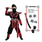 Child Unisex Premium Dragon Red Ninja Costume (Small (5-7 yr))