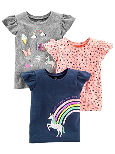 Simple Joys by Carter's 3-Pack Short-Sleeve Graphic Tees T-Shirt, Gray, Pink, Navy Unicorn, 4T, Pacco da 3