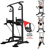 Mipageco Fitness Equipment,Multi-Function Home Gym Exercise Equipment Dip Station Chin Up Bar Core Power Tower Pull Push for Strong Muscleped from USA (Black)