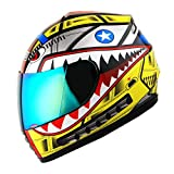 WOW Motorcycle Full Face Helmet Street Bike BMX MX Youth Kids Shark Yellow