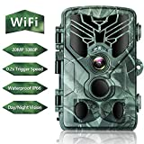 RINKMO WiFi Trail Camera, 20MP 1080P HD Hunting Game Camera with Night Vision, 44pcs Infrared LED, 0.2s Motion Activated, IP66 Waterproof, Monitoring for Wildlife and Home Security
