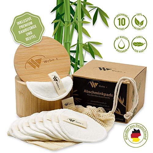 Abschminkpads Waschbar | 10 Wiederverwendbare Abschminktücher aus Bambus | Inkl. Wäschenetz und Aufbewahrungsbox | Umweltfreundlich | Wattepadszur Make Up Entfernung | zero waste