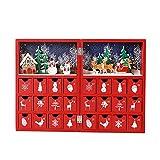 Christmas Advent Calendar 木製アドベントカレンダーブッククリスマスカレンダーには、クリスマスまでの24の引き出しカウントダウンがあります (Colorful)
