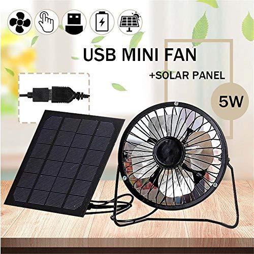Mini Ventilatore USB, 5W Pannello Solare Ferro da Stiro Fan, Raffreddamento Portatile Silenziosa...