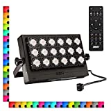 SANSI 100W RGB LED Flood Light with Plug, 16 Colors 4 Modes Color Changing Dimmable Decorative Party Stage Landscape Light with Remote Control, IP66 Waterproof Super Bright LED Security, AC100-240V