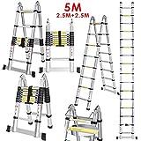 Voluker Échelle Télescopique Pliante 5M (2,5M + 2,5M), Échelle Escabeau...