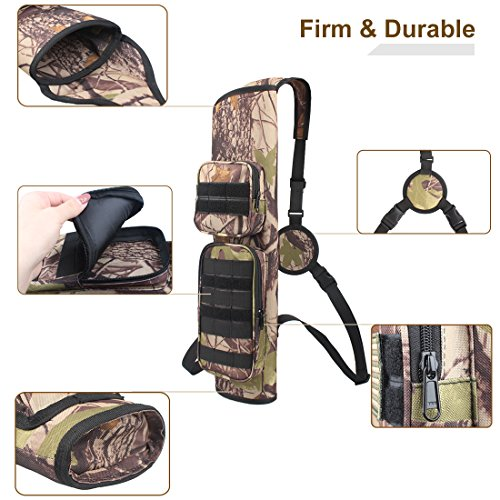 KRATARC Archery Back Arrows Quiver Bag with Molle System and Pockets for Hunting Shooting Target Practice (Camo- molle Design)