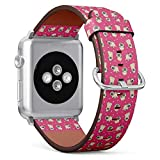Compatible with Apple Watch Series 5, 4, 3, 2, 1 (Big Version 42/44 mm) Leather Wristband Bracelet Replacement Accessory Band + Adapters - Pugs