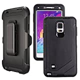 Galaxy Note 4 Case Heavy Duty,Harsel Defender Bumper Shockproof Dustproof Dropproof 3 Layer Rugged Protective Shell Case w/ Built-in Screen Protector & Belt-clip for Samsung Galaxy Note 4 (Black)