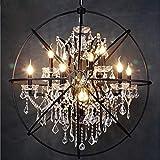 ZUQIEE Sphere Chandelier Rustic Loft Vintage Retro Deco Orb Globe Chandelier Restaurant Bar Kitchen Maria Theresa Crystal Chandelier (Number of Lights : Black Color, Size : D55cm)