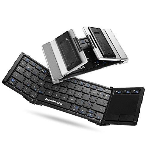POWERADD Teclado Inalámbrico con Multi-touchpad de Español con Tri-Plegable,Compatible con Android, Windows, iOS,Smartphone