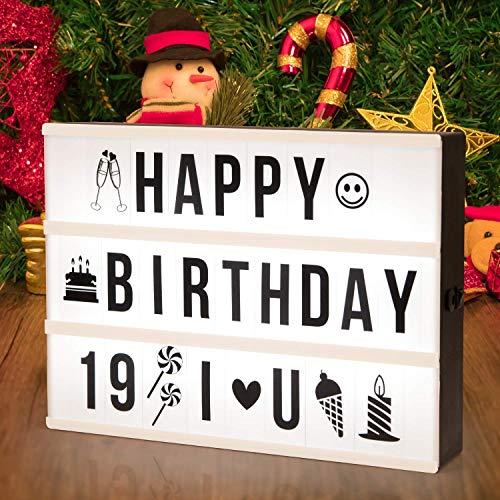 Adoric Lampada LED Lightbox di Luce bianca con 96 lettere per Natale,Casa,...
