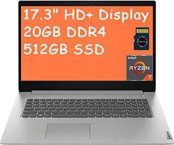 """2021 Lenovo IdeaPad 3 17 Premium Laptop Computer I 17.3""""HD+ I AMD Quad-Core Ryzen 7 3700U (>i5-5200U) I 20GB DDR4 512GB SSD I HDMI Fingerprint WiFi Dolby Webcam Win 10 + Delca 32GB Micro SD Card"""