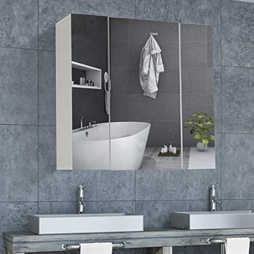 DICTAC Spiegelschrank Badezimmer, 70 x 15 x 59 cm Spiegelschrank mit höhenverstellbarer Regalebene Hängeschrank mit 3 Türen