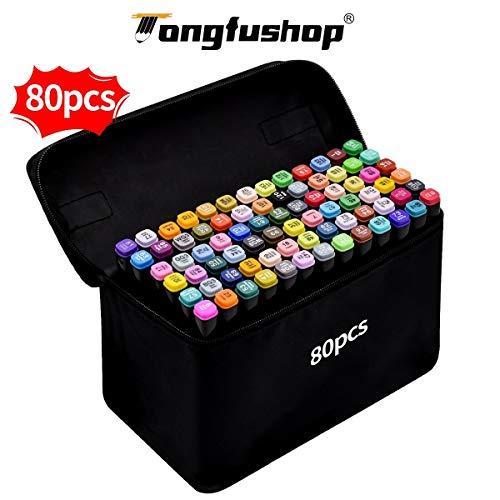 Marcatore 80 colori, Marker Pen Pennarello Certificazione SGS Set di Pennarello Acquerello a Doppia...