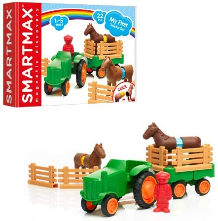 SmartMax My First Farm Tractor STEM Magnetic Discovery Play Set with Moving Tractor for Ages 1-5