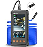 33FT Dual-Lens Borescope, Oiiwak Industrial Endoscope 1080P Video Sewer Pipe Drain Plumbing Wall Inspection Camera Snake with Light IP68 Waterproof, 32GB Card, Tool Box