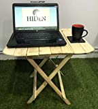 HIDEN Pine Wood Folding Coffee Table Wooden Side Table for Garden Living Room Bed Room Balcony Office Décor Interior Stool (22 Inch)