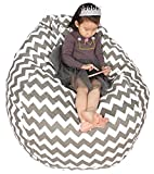 Great Eagle 58 x 52 in (Flat Size) Extra Large 100% Cotton Canvas Kids Stuffed Animals Toys Storage Bean Bag Chair Cover Only for Kids, Toddlers,Teens and Adults (Chevron Grey)