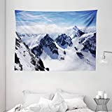 Ambesonne Winter Tapestry, Snowy Mountain Peaks Tops High Lands Northern Scenic Alps Panorama Valley Print, Wide Wall Hanging for Bedroom Living Room Dorm, 80' X 60', White Blue