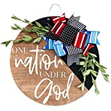 Patriotic Door Wall Hanging Sign Front Door, 4th of July Memorial Day Hanging Home Sign Decor, Handcrafted Wooden Sign Plaque Welcome Door Wall Hanging Decorations Independence Day