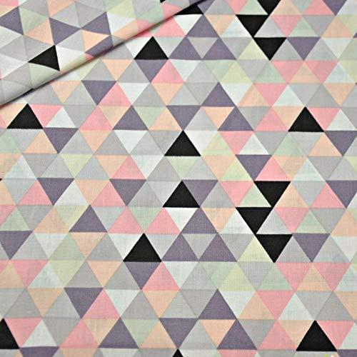 100{cc96c035ee5edb2ec661747dcd1ddb7f3f6a297b97c8b87cf18f2478f8a2bd53} Baumwolle Baumwollstoff Dreiecke Rauten Kinderstoff Meterware Handwerken Nähen Stoff 100x160cm 1 Meter (Dreiecke Bunt)