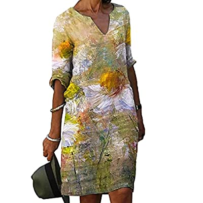 🥻 Product Features: Ladies' linen dresses are characterized by V-neck, half sleeves, pull-on, solid color printing, and knee-length. Italian style simple design, elegant style, loose style. 🥻 High-quality Materials: Women's summer half sleeve dresses...