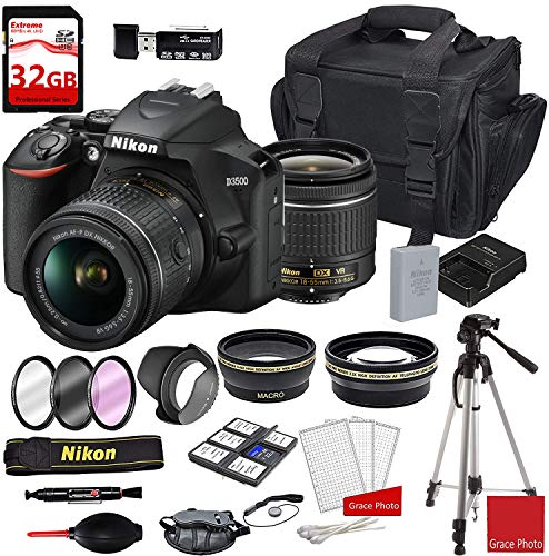 Nikon D3500 DSLR Camera with AF-P DX NIKKOR 18-55mm f/3.5-5.6G VR Lens + Deluxe DSLR Camera Case + 32GB Extreme Memory Bundle (24pcs)