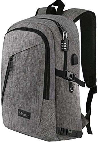 Laptop Backpack, Travel Computer Bag for Women & Men, Anti Theft Water Resistant College School Bookbag, Slim Business Backpack w/ USB Charging Port Fits UNDER 17' Laptop & Notebook by Mancro (Grey)