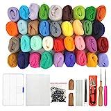 WOWOSS Feutrage de Laine Kit 36 Couleurs Feutre Laine Ensemble avec Kit De Couture Laine Feutre Aiguilles Outil Kit Forfait pour Feutre Artisanat Bricolage