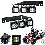 iJDMTOY 70-247-White 6000K White 120W Fog/Driving Light Kit Compatible with 2017-up Ford Raptor, Includes 6pc CREE LED Pod, Lower Bumper Opening Metal Mounting Brackets & On-Off Switch Relay Wiring