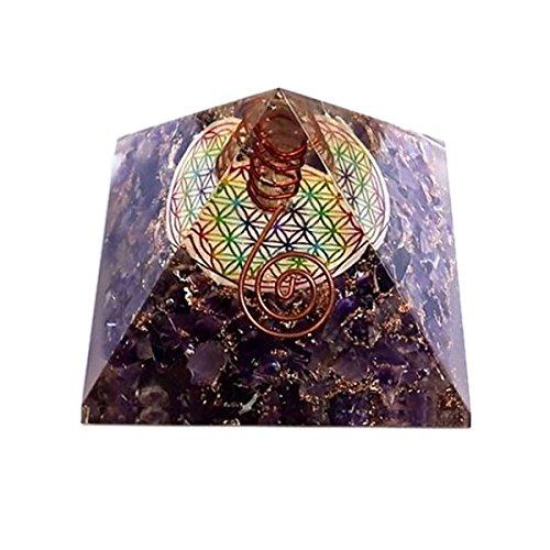 Orgonita en forma de Piramide con Flor de Vida - Amatista