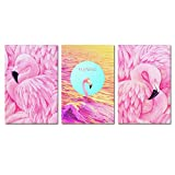 BIL-YOPIN Canvas Wall Art Flamingos Pink Birds Painting 16x24inch x 3 Pieces Framed Canvas Pictures Prints Contemporary Watercolor Artwork Ready to Hang for Home Decoration Office Wall Décor,3 Panels