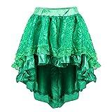 frawirshau Steampunk Skirt Women Victorian Pirate Skirt Halloween Costume Outfits Green 2XL-3XL