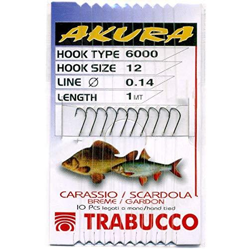 Trabucco Ami da Pesca Legati con Filo Fluorocarbon Akura Carassio 6000 BN Amo 12 Filo 0.14 mm Amo Trota Lago Mare Surfcasting
