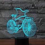 Múltiples colores Bicicleta Luz 3D LED7 Control remoto colorido Luz 3D Luz de visión acrílica Luz de noche USB Regalo para niños Regalo de cumpleaños Adornos