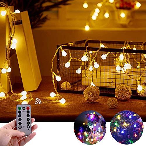 IREGRO Catena Luminosa 10M 100 LEDs Luci Stringa, 2 in 1 Bianco Caldo + Multi-Color Luci a LED, Luci a Forma di Globo a Batteria con Telecomando, per Giardino, Festa, Decorazione di Nozze di Natale
